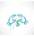 hands dollar grunge vector image vector image