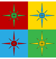Pop art compass icons vector image