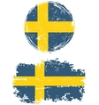 Swedish round and square grunge flags vector image
