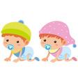 baby boy and girl crawling vector image