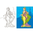 Colouring Book Of Princess And Castle vector image