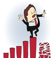 frightened businessman on a chart going down vector image