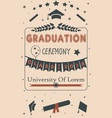 graduation ceremony announcement class of 2018 vector image