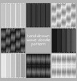 hand-drawn wave doodle seamless patterns vector image