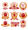 Cricket logo set vector image