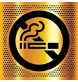 No smoking symbol on a gold backdrop vector image vector image