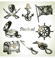 Pirates set hand drawn vector image