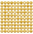 100 school icons set gold vector image vector image