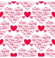 Retro seamless pattern Pink hearts and i love you vector image