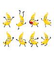 banana fruits cartoon character vector image