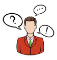 businessman with speech communication bubbles icon vector image