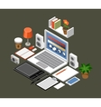Flat isometric workspace Office laptop vector image