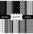 Geometric black and white Seamless Patterns Set vector image