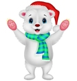 Polar bear cartoon waving vector image