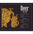 menu for a pub with a beer keg and a glass vector image
