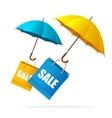 spring sale labels with umbrellas vector image