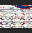 mega collection of 63 wave abstract backgrounds vector image