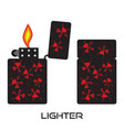 set of lighters icon of lighter with fire vector image