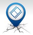 Cinema blue icon in crack vector image