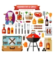 barbecue and grill set of elements - food meat vector image