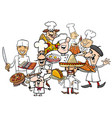 international cuisine chefs group cartoon vector image