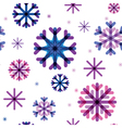 seamless pattern from color beautiful snowflakes vector image