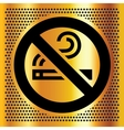 No smoking symbol on a bronze backdrop vector image