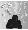 silhouette of person background vector image
