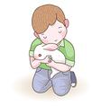 boy rabbit vector image