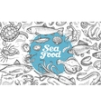 seafood or underwater world hand-drawn sketches vector image
