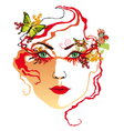 womans face red vector image vector image