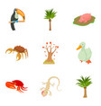 avifauna icons set cartoon style vector image
