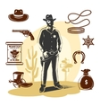 Brown Sheriff Icon Set vector image