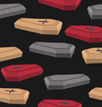 Colourful coffins seamless pattern on a black vector image