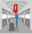 fashion woman with suitcase walking in airport vector image