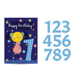happy birthday cartoon greeting card vector image