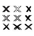 set of x handwritten letter on white vector image