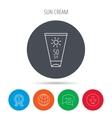 Sun cream container icon Beach lotion sign vector image