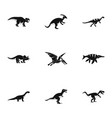 wild dinosaur icons set simple style vector image