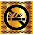 No smoking symbol on a gold background vector image vector image