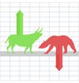 battle between bulls and bears on financial market vector image