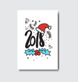 2018 new year postcard doodle isolated on white vector image