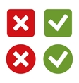 Check Mark Stickers and Buttons Red and Green vector image