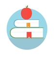 Books with apple Education concept vector image