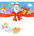 Christmas design with Santa Claus gifts xmas tree vector image