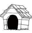 black and white dog house vector image