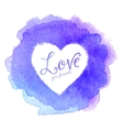 Blue watercolor painted stain with heart inside vector image vector image