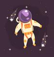 Cosmonaut in space suit at spacewalk in open space vector image