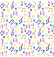 olorful music-notes and hearts on white background vector image