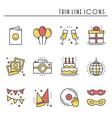 party celebration thin line icons set birthday vector image